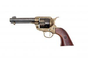 CIVIL WAR M1851 ENGRAVED NAVEL REVOLVER GOLD AND NICKEL